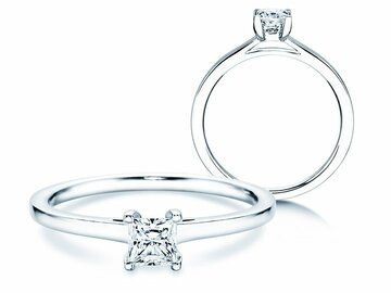 Engagement ring Princess in platinum
