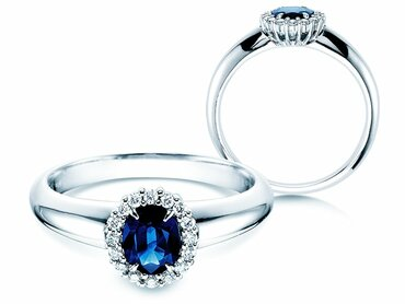 Engagement ring Windsor with sapphire, emerald and ruby
