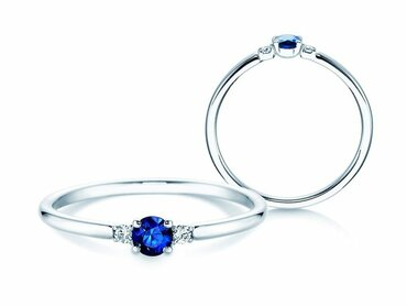 Engagement ring Glory Petite sapphire with two diamonds