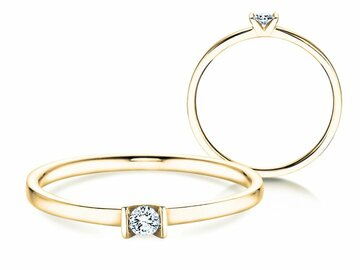Engagement ring Love in yellow gold