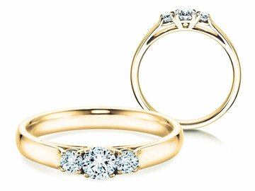 Engagement ring 3 Stones in yellow gold