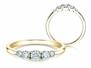 Engagement ring 5 Diamonds in yellow gold