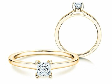 Engagement ring Princess in yellow gold
