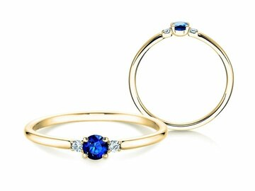 Engagement ring Glory Petite Saphir in yellow gold