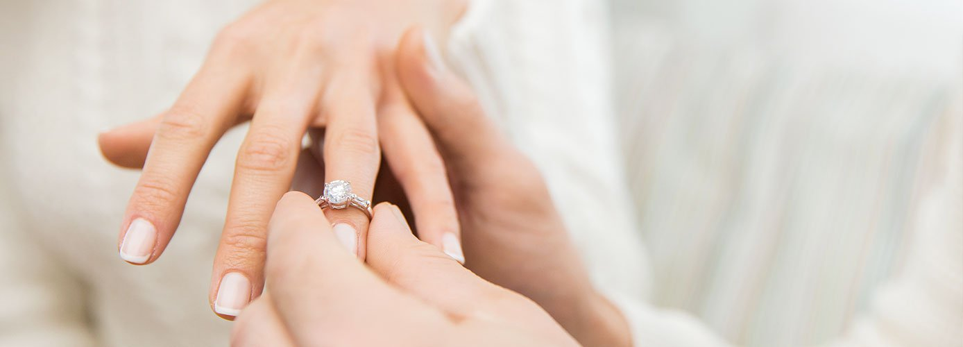 Engagement ring is worn on the left hand
