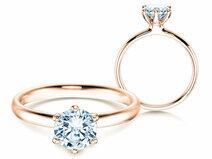 Engagement ring Classic 6 in 14K rosé gold with diamond 1.00ct