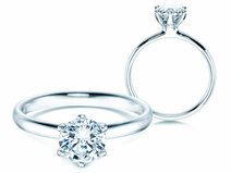 Engagement ring Classic 6 in 18K white gold with diamond 1.00ct