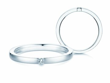 Engagement ring Infinity in silver 925/- with diamond 0.10ct