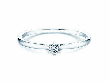 Engagement ring Classic Petite in 14K white gold with diamond 0.05ct