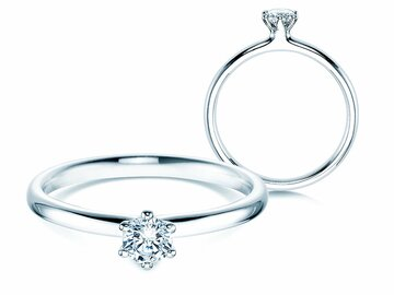 Engagement ring Classic in 14ct white gold with diamond 0,25ct G/SI
