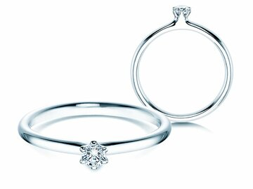 Engagement ring Classic  in 14ct white gold with diamond 0,10ct G/SI