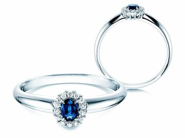 Sapphire engagement ring Jolie in 14ct white gold with diamonds 0,06ct