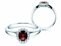 Ruby ring Windsor  in 14ct white gold with diamonds 0,12ct