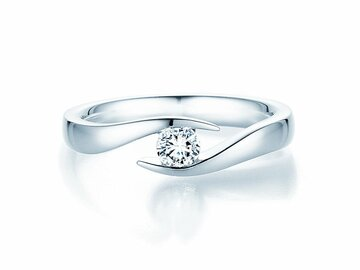 Engagement ring Twist  in 14ct white gold with diamond 0,25ct G/SI