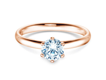 Engagement ring Classic  in 14ct rosé gold with diamond 0,05ct G/SI