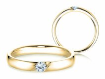 Engagement ring Italic in 14ct yellow gold with diamond 0,10ct G/SI