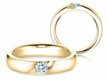 Engagement ring Italic in 14ct yellow gold with diamond 0,40ct G/SI