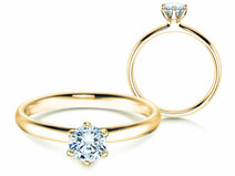 Engagement ring Classic 6 in 14K yellow gold with diamond 0.50ct