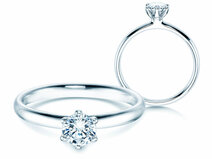 Engagement ring Classic 6 in 14K white gold with diamond 0.50ct