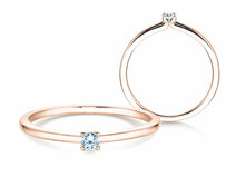 Engagement ring Classic 4 in 14ct rosé gold with diamond 0,05ct G/SI