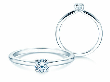 Engagement ring Classic 4 in 14K white gold with diamond 0.25ct