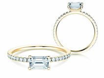 Engagement ring Emerald-Cut in 14K yellow gold with diamonds 0.70ct