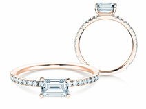 Engagement ring Emerald-Cut in 14K rosé gold with diamonds 0.70ct