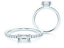 Engagement ring Emerald-Cut in 14K white gold with diamonds 0.70ct