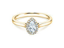 Engagement ring Pear Shape in 14K yellow gold with diamonds 0.50ct
