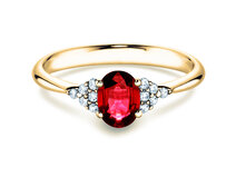 Engagement ring Glory Ruby in 14K yellow gold with ruby 1.00ct and diamonds 0.12ct
