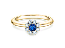 Sapphire ring Lovely  in yellow gold with sapphire and diamond 0,15
