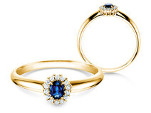 Sapphire engagement ring Jolie in 18ct yellow gold with diamonds 0,06ct