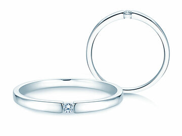Engagement ring Infinity Petite in 14K white gold with diamond 0.03ct
