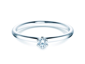 Engagement ring Classic 6 in 18K white gold with diamond 0.10ct