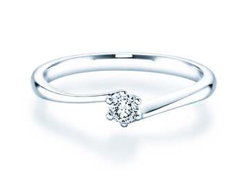 Engagement ring Devotion in 14K white gold with diamond 0.10ct