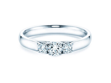 Engagement ring 3 Stones in 14K white gold with diamonds 0.11ct
