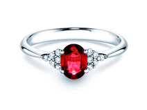 Engagement ring Glory Ruby in 14K white gold with ruby 1.00ct and diamonds 0.12ct
