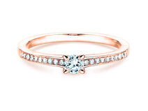 Engagement ring Modern Pavé in 14ct rosé gold with diamond 0,05ct