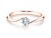 Engagement ring Devotion in 14K rosé gold with diamond 1.00ct