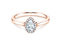 Engagement ring Pear Shape in 14K rosé gold with diamonds 0.50ct
