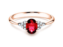 Engagement ring Glory Ruby in 14K rosé gold with ruby 1.00ct and diamonds 0.12ct