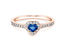 Sapphire ring Heart  in rosé gold with sapphire and diamond 0,34