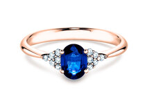 Sapphire ring Glory in rosé gold