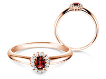 Engagement ring Jolie in 14K rosé gold with ruby 0.25ct and diamonds 0.06ct