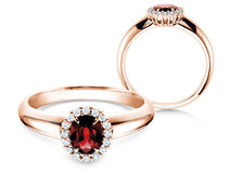 Engagement ring Windsor in 14K rosé gold with ruby 0.60ct and diamonds 0.12ct