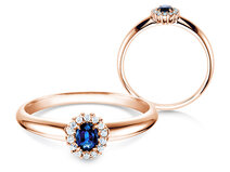 Sapphire engagement ring Jolie in rosé gold with diamonds 0,06ct