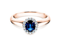 Sapphire engagement ring Windsor  in 14ct rosé gold with diamonds 0,12ct