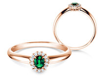 Engagement ring Jolie in 14K rosé gold with emerald 0.25ct and diamonds 0.06ct
