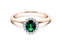 Engagement ring Windsor in 14K rosé gold with emerald 0.60ct and diamonds 0.12ct