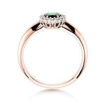 Smaragdring Windsor in 14ct rosé gold with diamonds 0,12ct
